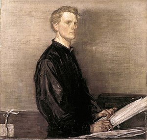 Painting of the artist in dark clothing